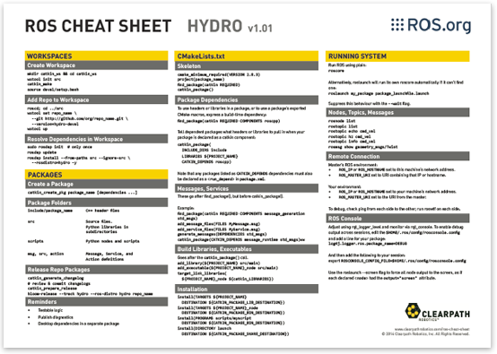 robot operating system cheat sheet for ROS hydro